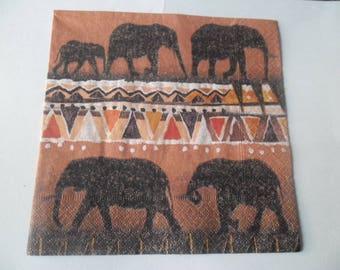 x 1 napkin style African elephants 33 x 33 cm