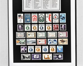 1960 Complete US Postage Commemorative Year Set - Birth Year Gift - Postage Art