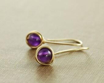 Amethyst Drop Earrings in 14k Gold Fill, February Birthstone Jewelry, Simple Gold Amethyst Earrings