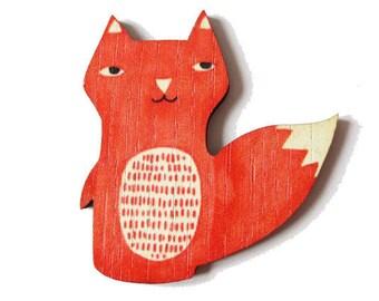 Fox wood print - 52x46mm - Non pierced