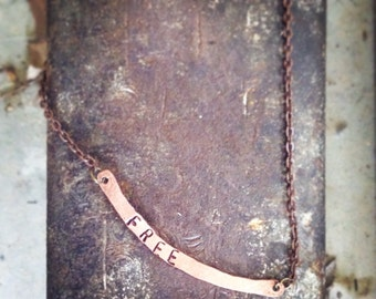 Copper bar necklace. Curved Bar Necklace. Arthritis jewelry. Thin Bar Necklace. Name Plate Necklace. Personalized bar necklace Skinny Bar