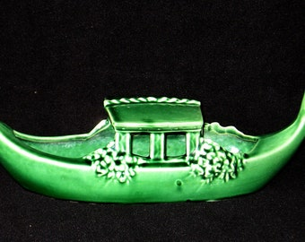 Pottery, Vintage McCoy, Green Gondola Candy Boat, Made by McCoy Pottery in Roseville, Ohio in 1950's