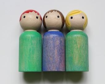 Peg Doll Set // Set of 3 // Watercolor Peg Doll // Pretend Play // Peg Dolls //