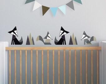 Black Fox Decal, Gray Nursery, Nursery Wall Decal, Woodland Stickers. Foxes Children Wall Decal