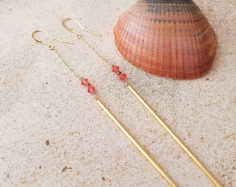 Long Shoulder Duster Earrings // Coral Swarovski & 14K Gold Chain Wisps
