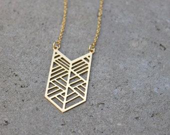 Gold Chevron Necklace // 16K Gold // Minimal Necklace // Layering Necklace // Geometric Necklace // Arrow Necklace