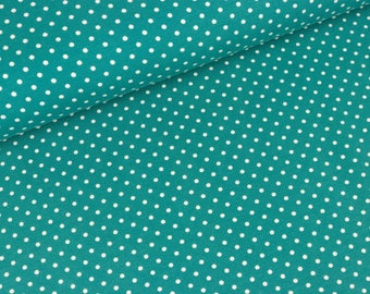 Cotton Jersey Verena white dots on emerald (13,50 EUR / meter)