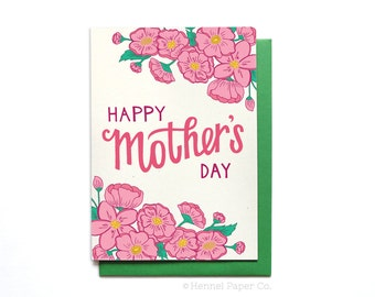 Happy Mothers Day Card Floral - Spring Flowers - Mothers Day Card Unique - MD4