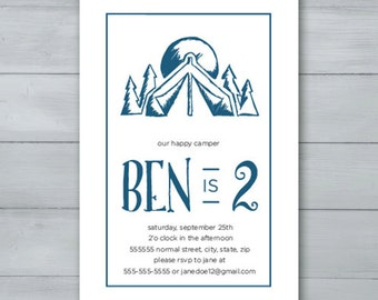 Happy Camper Birthday Party Invitation  |  Camping Invite  |  Camping Birthday Invite  |  Tent Birthday Invite