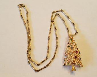 Vintage Flocked Christmas Tree with Jewels Necklace, Christmas Tree Necklace, Christmas Tree