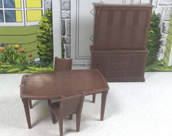 "WOLVERINE DINING ROOM Pieces, 1/2"" Scale, Soft Plastic, 1960's, Vintage Tin Dollhouse Furniture"