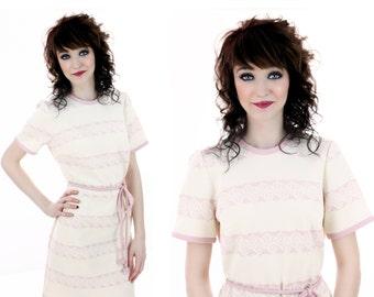 60s Mod Dress Vintage Pink Waves Pattern Circles Knot Belt Sixties A-Line 70s Retro 1970s 1960s Pastel Day Dress Cute Large L Medium M