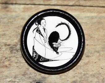 Edgar Allan Poe BLACK CAT Pendant or Brooch or Ring or Earrings or Tie Tack or Cuff Links