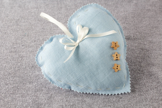Large grey linen hanging heart.