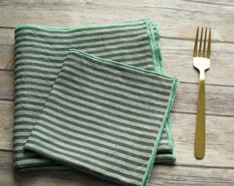 large and small gray and white striped napkins 100% linen with sage mint green