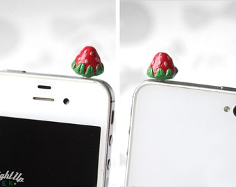 Strawberry Phone Charm iPhone Dust Plug