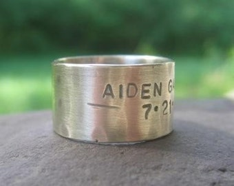 sterling silver rustic wide band with words . weather-worn finish . rustic wedding band . unisex silver band . made to order in your size