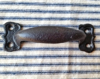 "Black cast iron 4 1/4"" handle drawer pull scalloped ends Farmhouse Industrial hardware"