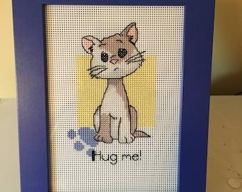 Hug Me Kitty Counted Cross Stitch
