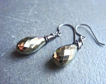 Pyrite Drop Earrings- pyrite and sterling silver