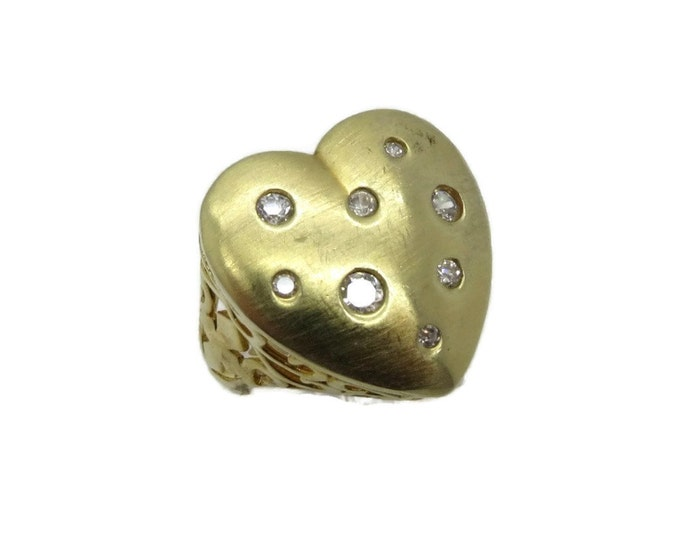 Sterling Silver Heart Ring, Vintage Gold Plated Ring, CZ Studded Ring, Love Heart Ring, Perfect Gift