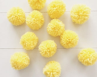 12 Daffodil Yellow Yarn Pom Poms