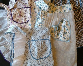 Four Vintage Aprons, 3 half in blue, 1 child size full in purple