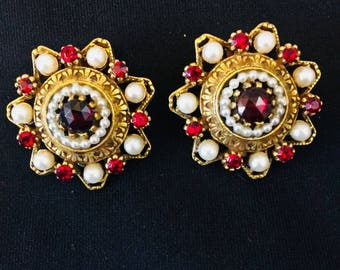 Art  Signed Vintage Clip Red Ruby Earrings