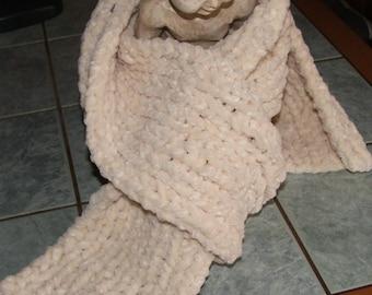 Handmade - Colored scarf cream ribbed 1/1 - Velvet
