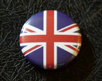 "1"" United Kingdom flag button, country, pin, badge, pinback, Made in USA"