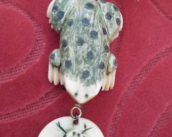 Carved frog necklace and earrings