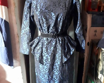 Vintage 80's dress. Madmen style. Made in France