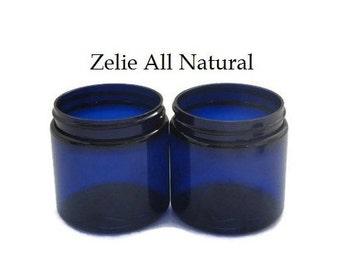 Set Two of (2) 8oz. Cobalt PET Empty Containers, Black Lid Caps, Storage Jars for Body Butter, Sugar Scrubs, Bath Salt.