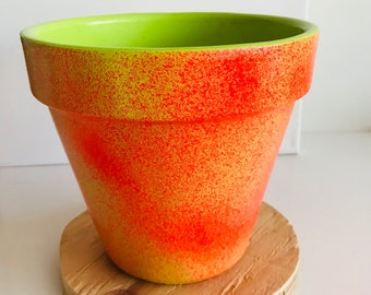 """Hand Painted Ceramic Flower Pot. 6"""" pot comes with your choice color saucer."""