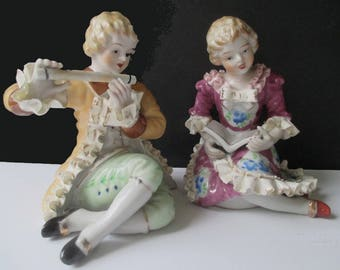 Boy And Girl Figurine * Victorian Style * Betson Bone China * Pair Of Figurines