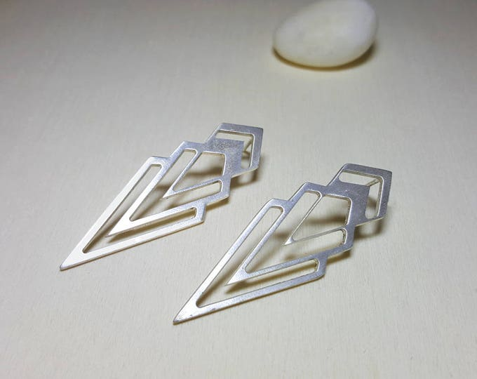 Featured listing image: Chevron Earrings, Triangle Earrings, Long Triangle Earrings, Geometric Studs, Geometric Stud Earrings, Silver Geometric Earrings