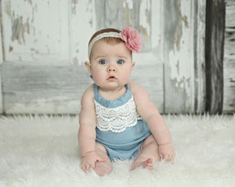 Chambray and lace halter romper - baby girl sizes 0000, 000, 00, 0, 1, 18m, 2