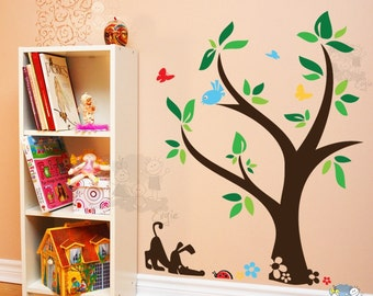 Puppy Wall Decals  - Dog and Lady Bug Under The Tree Nursery Wall Stickers - PLYR030L