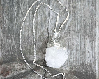 Raw Cut Crystal Quartz Sterling Silver Necklace