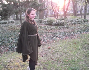Elven medieval tunic from brown cashmere