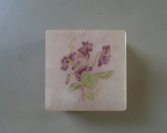 REDUCED Vntg 60's Lefton Italian Alabaster Hinged Box with Printed Violets