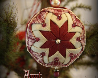 Handmade Quilted & Beaded Christmas Ball Ornament Burgundy