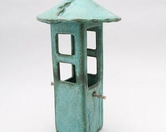 Bird Feeder-Porcelain Bird Feeder-Pottery Bird Feeder-Garden Decor-Bird-Teal