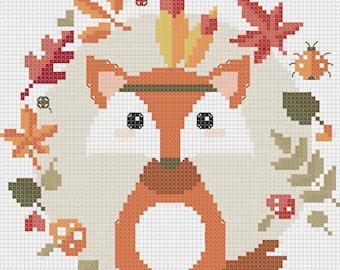 Autumn squirrel  Cross Stitch Pattern Easy Cross Stitch
