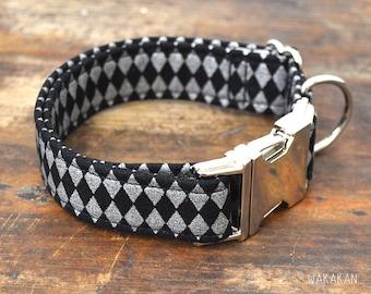 Harlequin dog collar. Adjustable and handmade with 100% cotton fabric. Circus classic style Wakakan