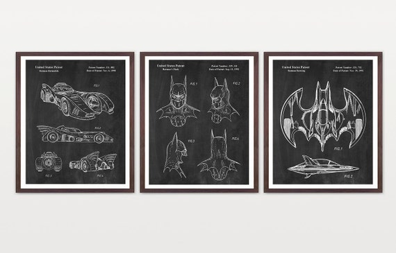 Batman Patent Set - Batman Patent Wall Art Poster - Batwing - Batmobile Patent - Bat Mobile - Batman Mask - Batman Art - Batman Poster - Bat