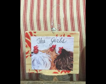 Mini Art, FRIENDSHIP,ready to ship, Chicken Art, Rooster Art, Chickens, Art Block, Ornament, Art Print