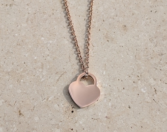 Love heart necklace in Rose Gold or Gold.