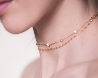 Gold Choker Necklace, Pearl Choker Necklace, Layered Gold Chain Choker, Layering Gold Necklace, Delicate Choker, Bohemian Jewelry N059-G