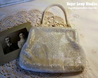 Vintage White Sequin Evening Bag
